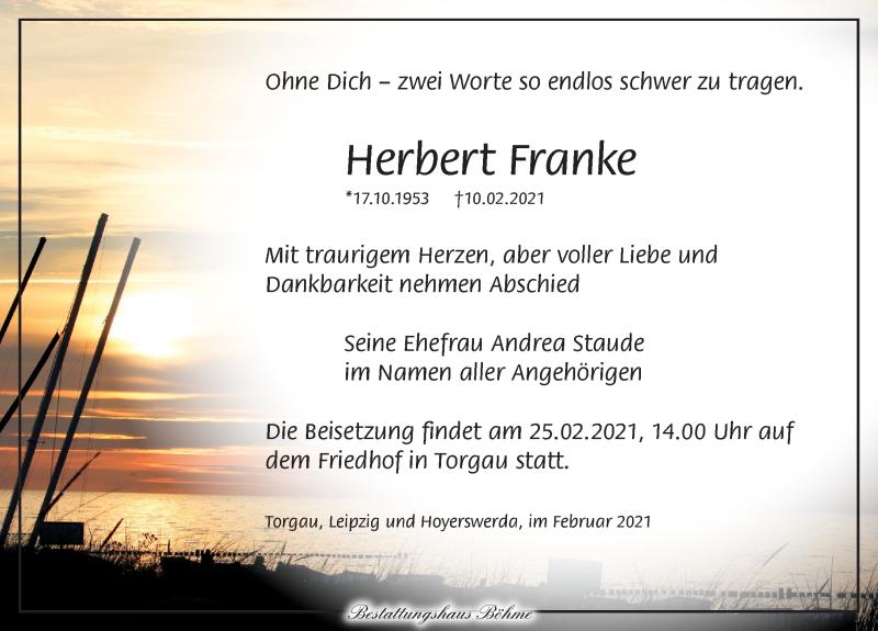Traueranzeige für Herbert Franke vom 20.02.2021 aus Torgauer Zeitung