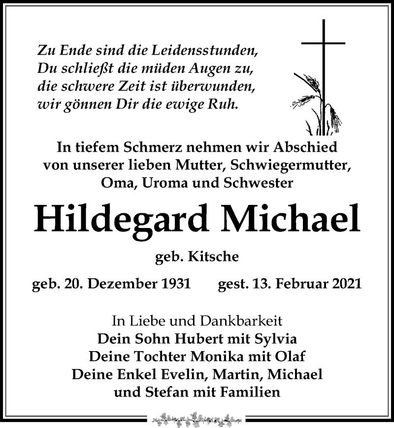 Traueranzeige für Hildegard Michael vom 20.02.2021 aus Leipziger Volkszeitung