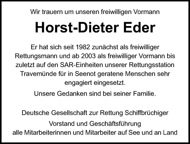 Traueranzeige für Horst-Dieter Eder vom 21.02.2021 aus Lübecker Nachrichten