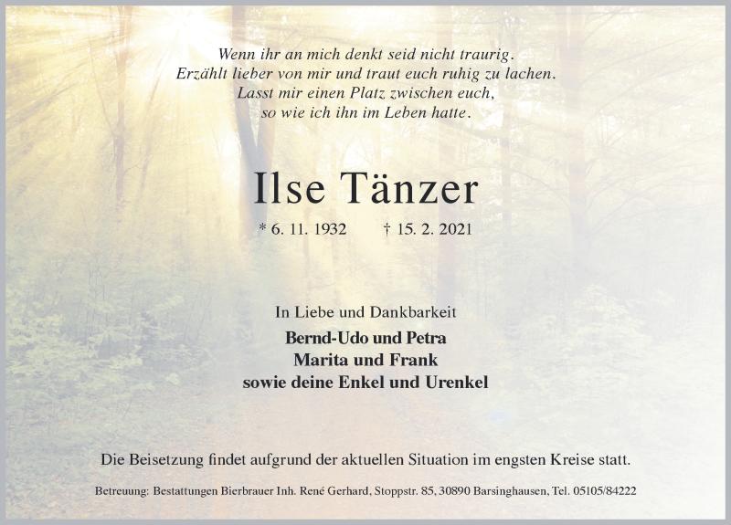 Traueranzeige für Ilse Tänzer vom 20.02.2021 aus Hannoversche Allgemeine Zeitung/Neue Presse