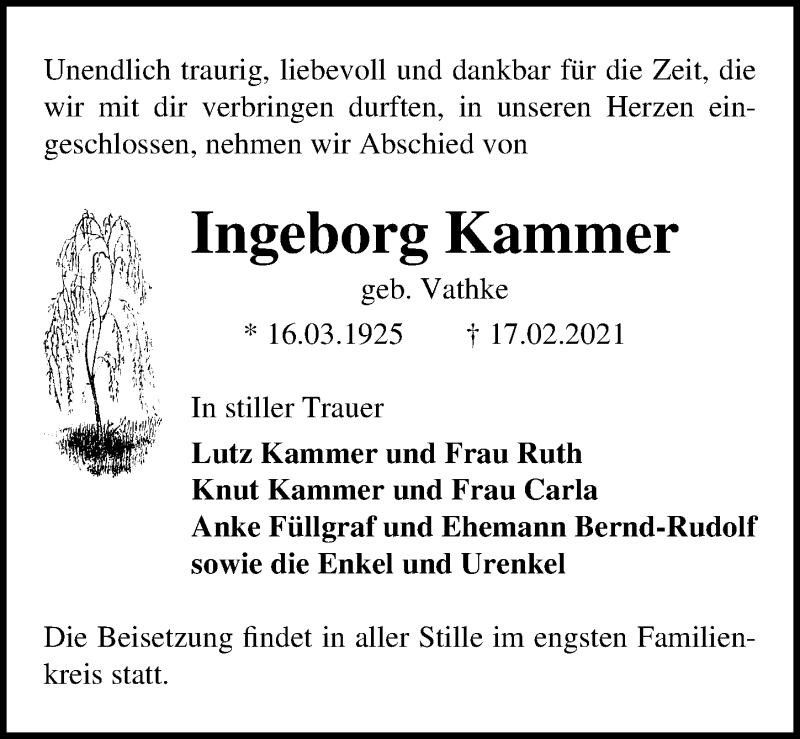 Traueranzeige für Ingeborg Kammer vom 20.02.2021 aus Märkischen Allgemeine Zeitung