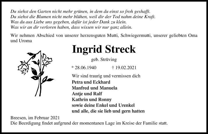 Traueranzeige für Ingrid Streck vom 23.02.2021 aus Ostsee-Zeitung GmbH