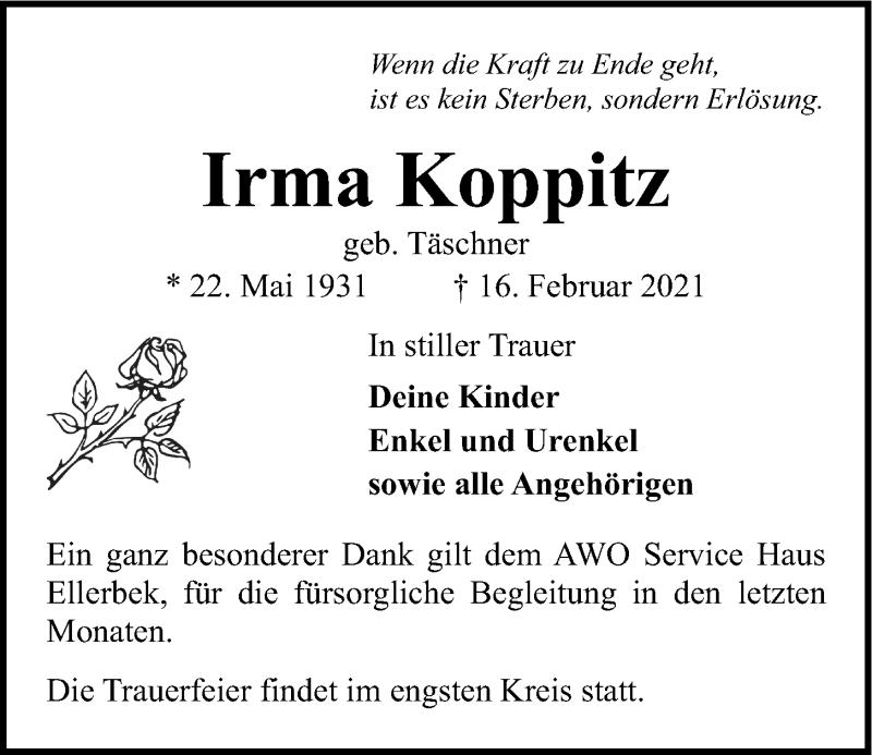 Traueranzeige für Irma Koppitz vom 20.02.2021 aus Kieler Nachrichten