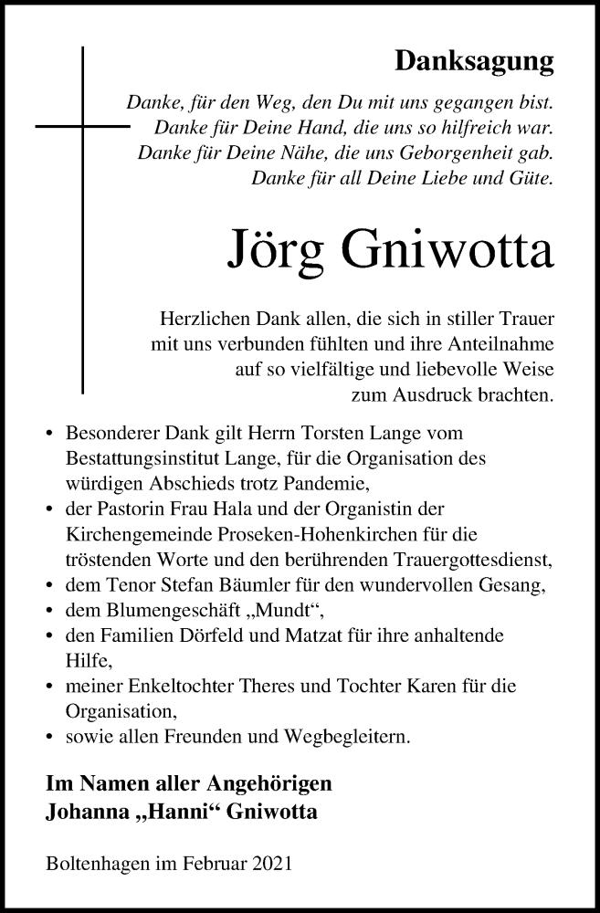 Traueranzeige für Jörg Gniwotta vom 13.02.2021 aus Ostsee-Zeitung GmbH