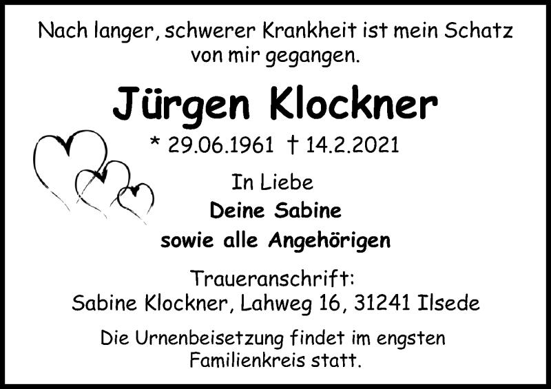 Traueranzeige für Jürgen Klockner vom 20.02.2021 aus Peiner Allgemeine Zeitung