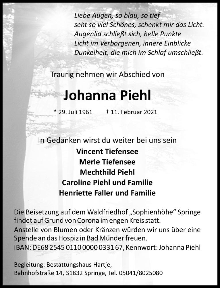Traueranzeige für Johanna Piehl vom 20.02.2021 aus Hannoversche Allgemeine Zeitung/Neue Presse