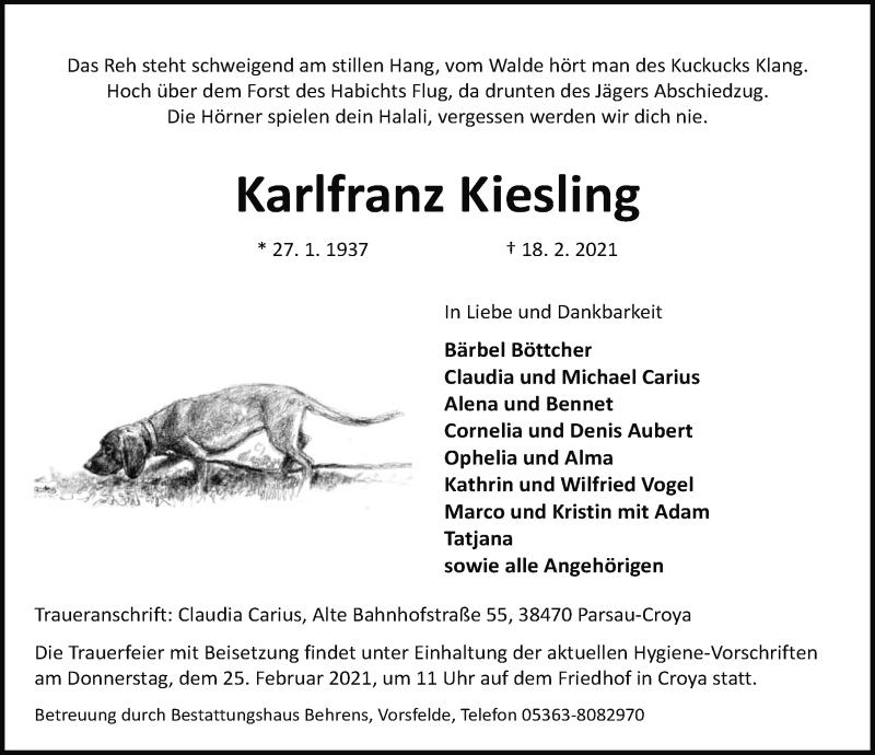 Traueranzeige für Karlfranz Kiesling vom 20.02.2021 aus Aller Zeitung