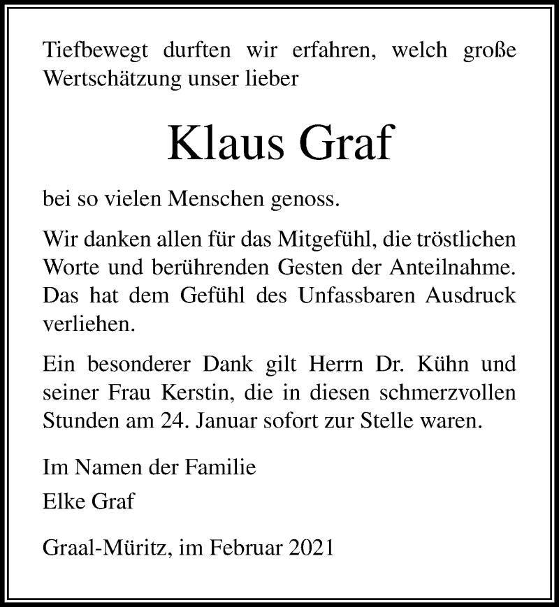 Traueranzeige für Klaus Graf vom 06.02.2021 aus Ostsee-Zeitung GmbH