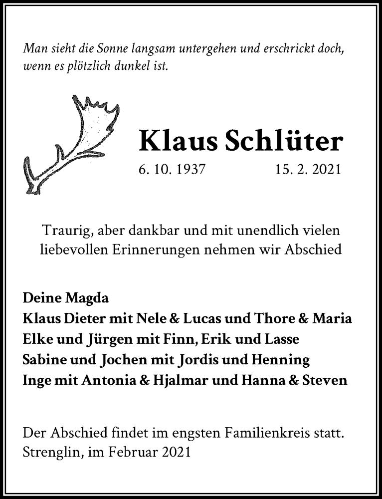 Traueranzeige für Klaus Schlüter vom 21.02.2021 aus Lübecker Nachrichten