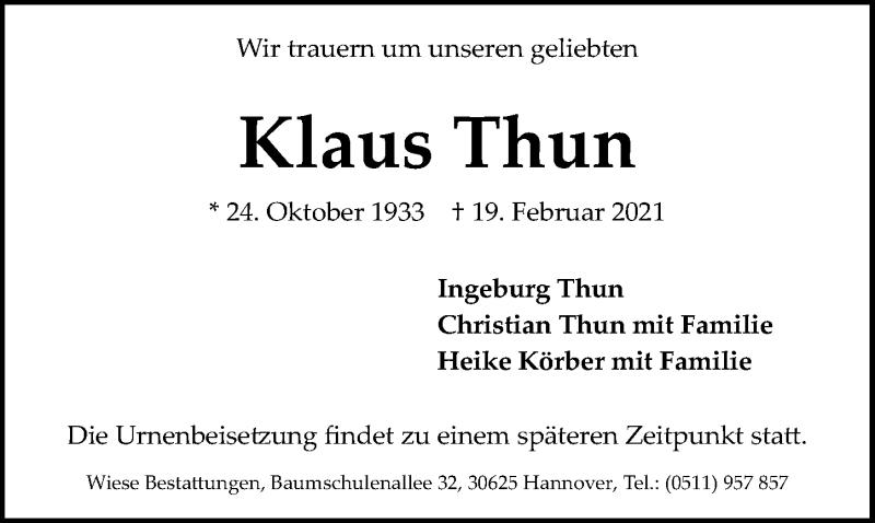 Traueranzeige für Klaus Thun vom 23.02.2021 aus Hannoversche Allgemeine Zeitung/Neue Presse