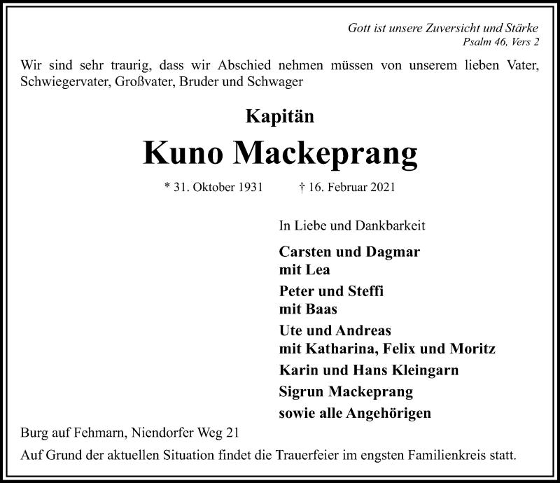Traueranzeige für Kuno Mackeprang vom 19.02.2021 aus Lübecker Nachrichten
