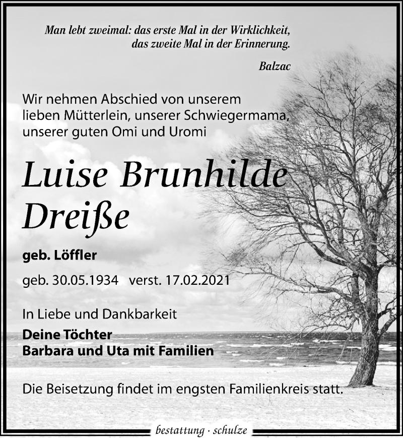 Traueranzeige für Luise Brunhilde Dreiße vom 20.02.2021 aus Leipziger Volkszeitung