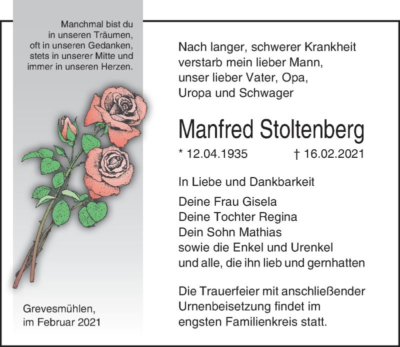 Traueranzeige für Manfred Stoltenberg vom 23.02.2021 aus Ostsee-Zeitung GmbH