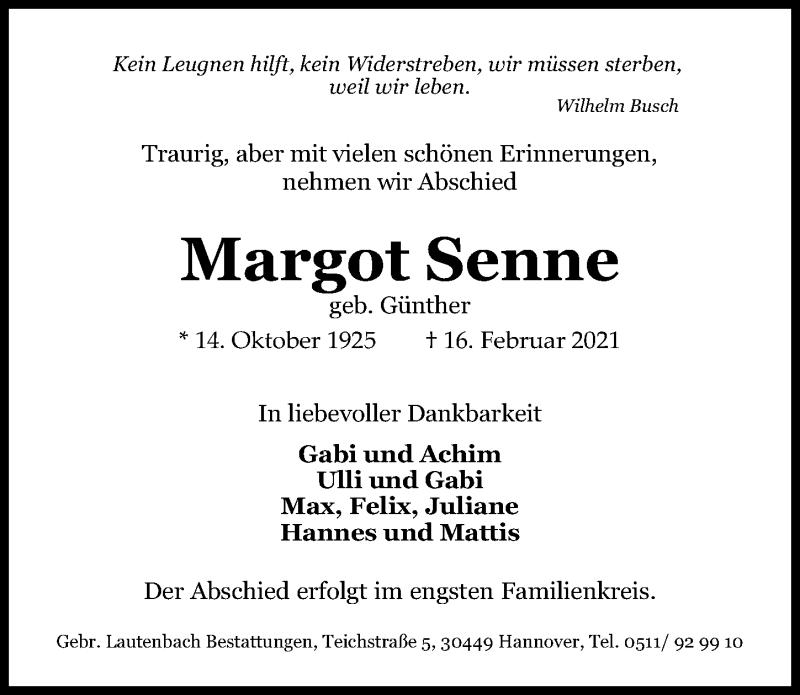 Traueranzeige für Margot Senne vom 20.02.2021 aus Hannoversche Allgemeine Zeitung/Neue Presse