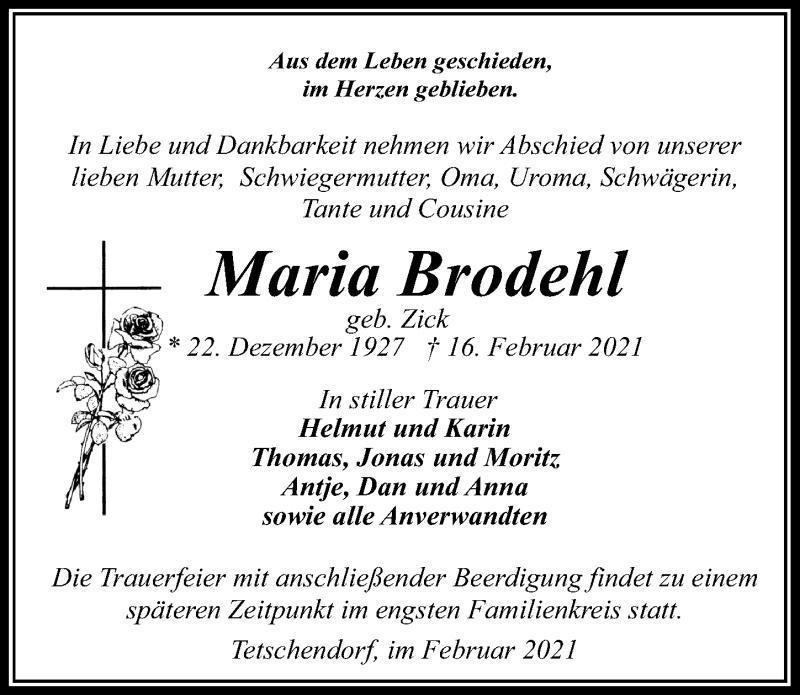 Traueranzeige für Maria Brodehl vom 20.02.2021 aus Märkischen Allgemeine Zeitung