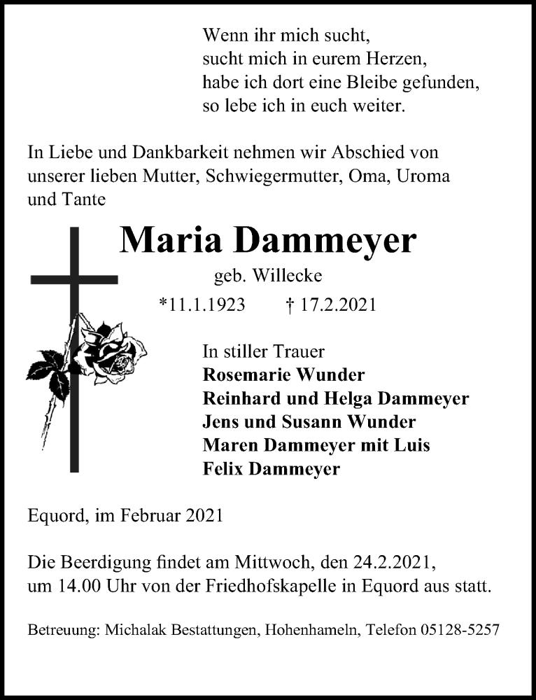 Traueranzeige für Maria Dammeyer vom 20.02.2021 aus Peiner Allgemeine Zeitung