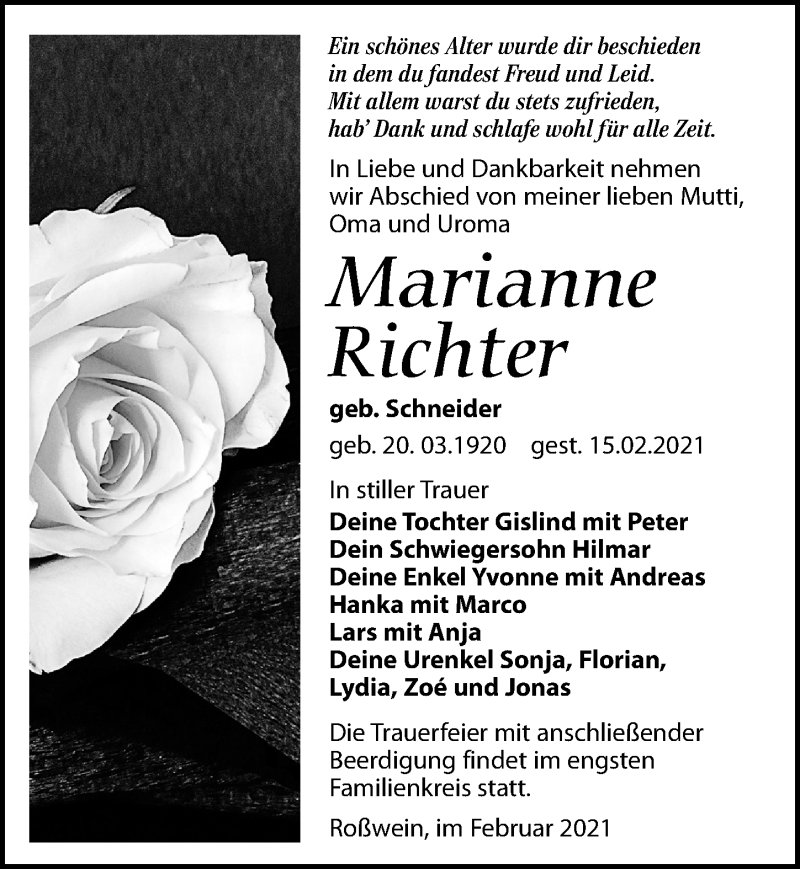 Traueranzeige für Marianne Richter vom 20.02.2021 aus Leipziger Volkszeitung