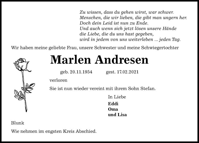 Traueranzeige für Marlen Andresen vom 20.02.2021 aus Kieler Nachrichten