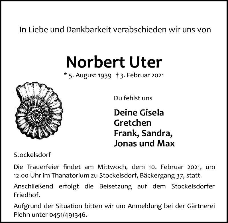 Traueranzeige für Norbert Uter vom 07.02.2021 aus Lübecker Nachrichten