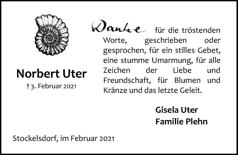 Traueranzeige für Norbert Uter vom 21.02.2021 aus Lübecker Nachrichten
