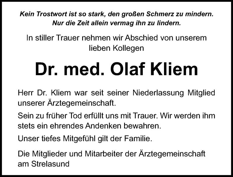 Traueranzeige für Olaf Kliem vom 13.02.2021 aus Ostsee-Zeitung GmbH