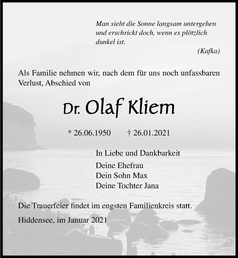 Traueranzeige für Olaf Kliem vom 06.02.2021 aus Ostsee-Zeitung GmbH
