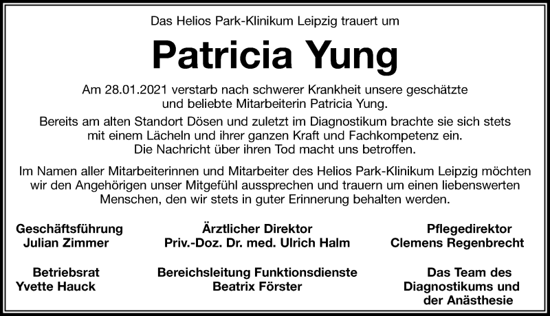 Traueranzeige für Patricia Yung vom 06.02.2021 aus Leipziger Volkszeitung