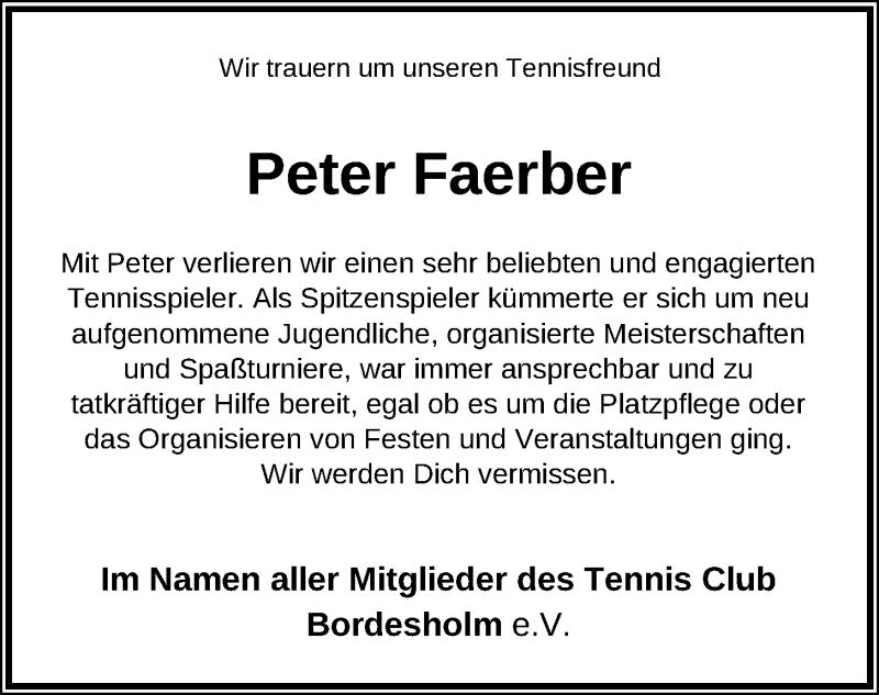 Traueranzeige für Peter Faerber vom 27.02.2021 aus Kieler Nachrichten