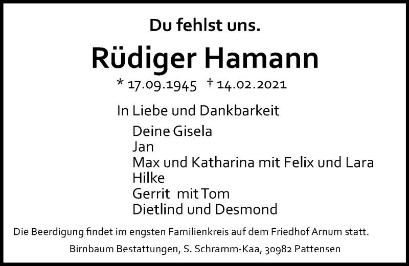 Traueranzeige für Rüdiger Hamann vom 20.02.2021 aus Hannoversche Allgemeine Zeitung/Neue Presse