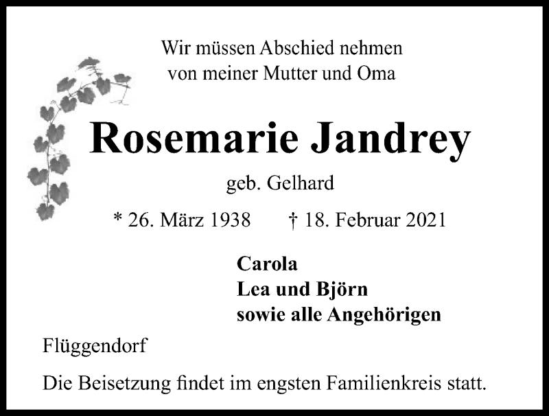 Traueranzeige für Rosemarie Jandrey vom 20.02.2021 aus Kieler Nachrichten