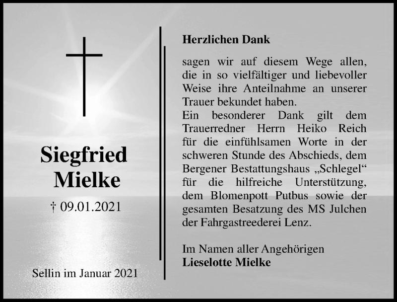 Traueranzeige für Siegfried Mielke vom 06.02.2021 aus Ostsee-Zeitung GmbH