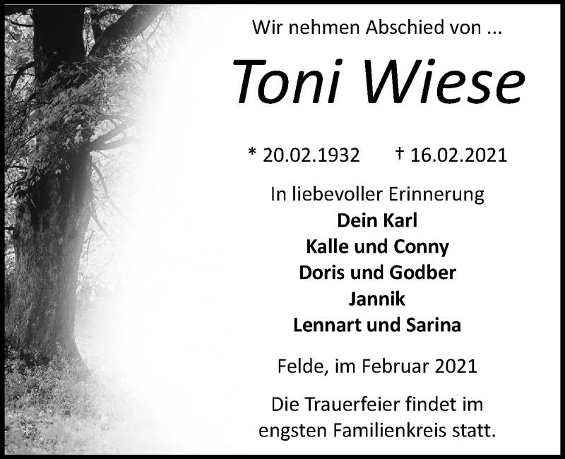 Traueranzeige für Toni Wiese vom 20.02.2021 aus Kieler Nachrichten