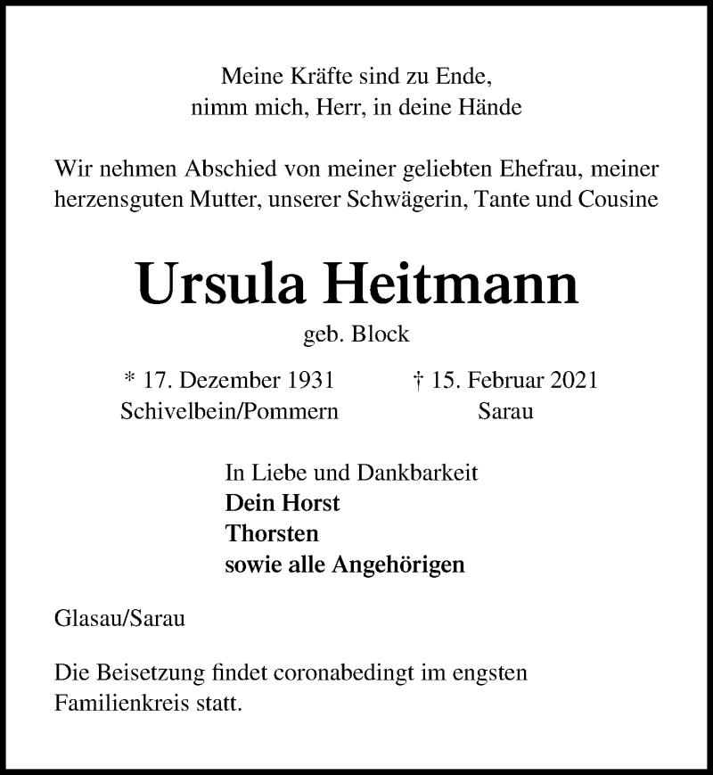 Traueranzeige für Ursula Heftmann vom 21.02.2021 aus Lübecker Nachrichten