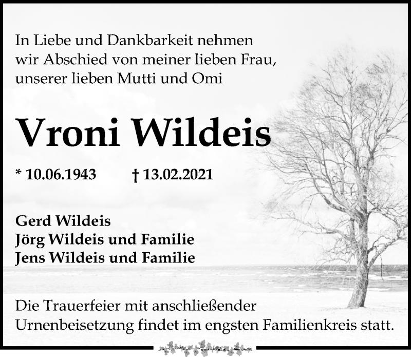 Traueranzeige für Vroni Wildeis vom 20.02.2021 aus Leipziger Volkszeitung