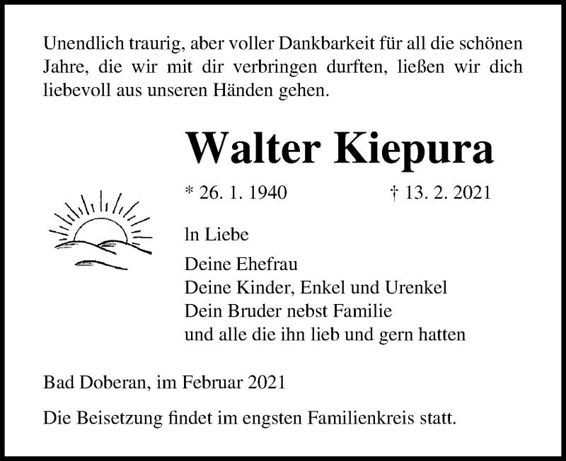 Traueranzeige für Walter Kiepura vom 20.02.2021 aus Ostsee-Zeitung GmbH