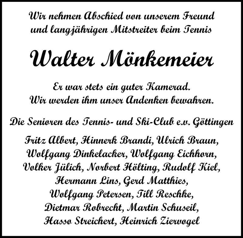 Traueranzeige für Walter Mönkemeier vom 06.02.2021 aus Göttinger Tageblatt