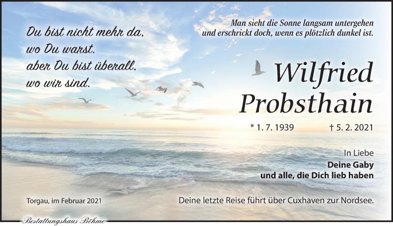 Traueranzeige für Wilfried Probsthain vom 13.02.2021 aus Torgauer Zeitung