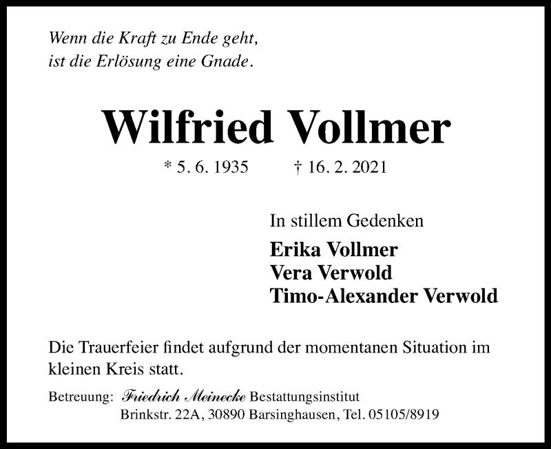 Traueranzeige für Wilfried Vollmer vom 20.02.2021 aus Hannoversche Allgemeine Zeitung/Neue Presse