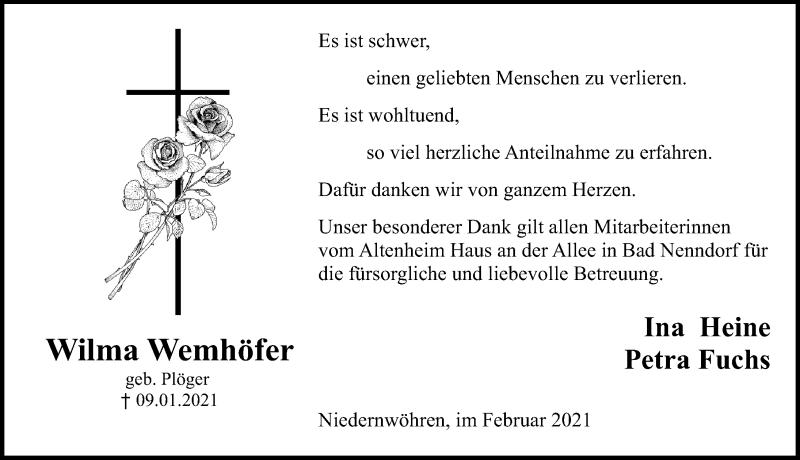 Traueranzeige für Wilma Wemhöfer vom 06.02.2021 aus Schaumburger Nachrichten