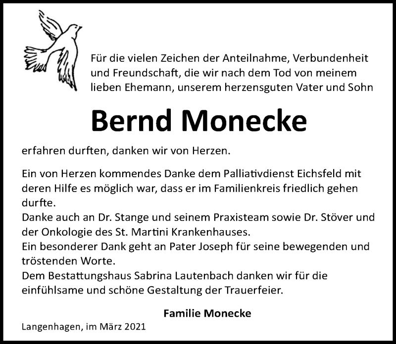 Traueranzeige für Bernd Monecke vom 06.03.2021 aus Eichsfelder Tageblatt