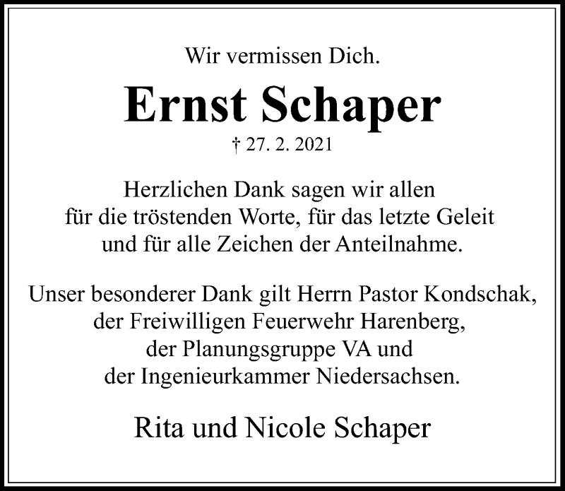 Traueranzeige für Ernst Schaper vom 20.03.2021 aus Hannoversche Allgemeine Zeitung/Neue Presse