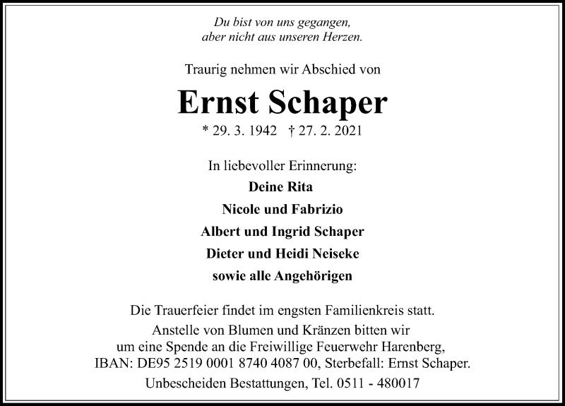 Traueranzeige für Ernst Schaper vom 03.03.2021 aus Hannoversche Allgemeine Zeitung/Neue Presse