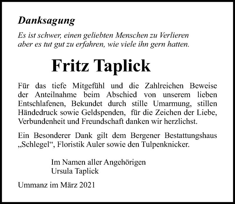 Traueranzeige für Fritz Taplick vom 27.03.2021 aus Ostsee-Zeitung GmbH