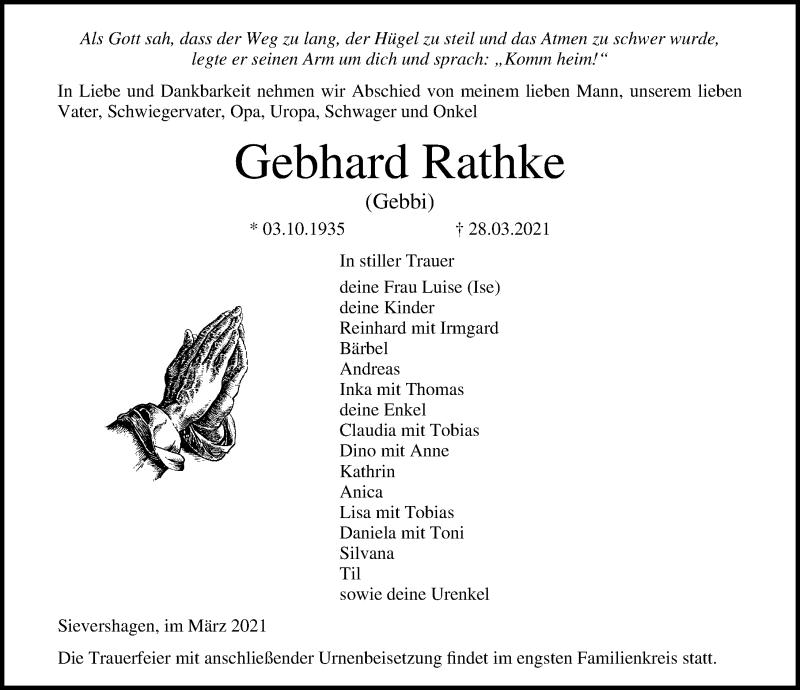 Traueranzeige für Gebhard Rathke vom 31.03.2021 aus Ostsee-Zeitung GmbH