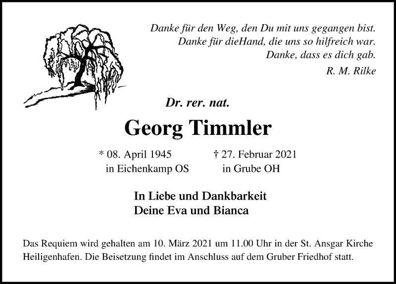 Traueranzeige für Georg Timmler vom 06.03.2021 aus Lübecker Nachrichten