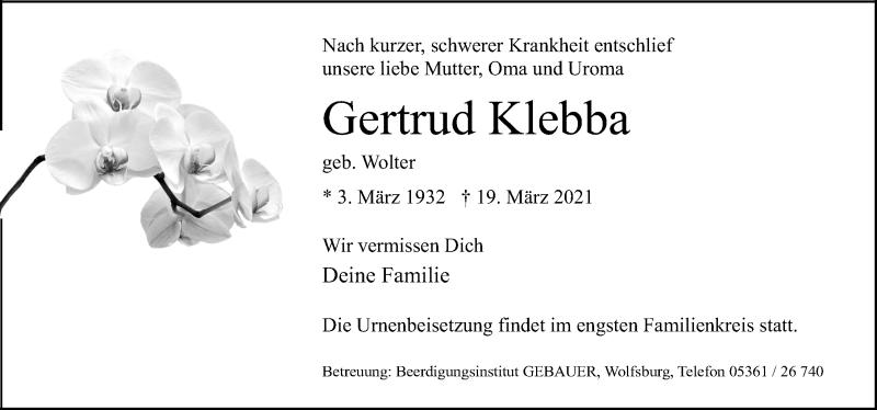 Traueranzeige für Gertrud Klebba vom 27.03.2021 aus Aller Zeitung