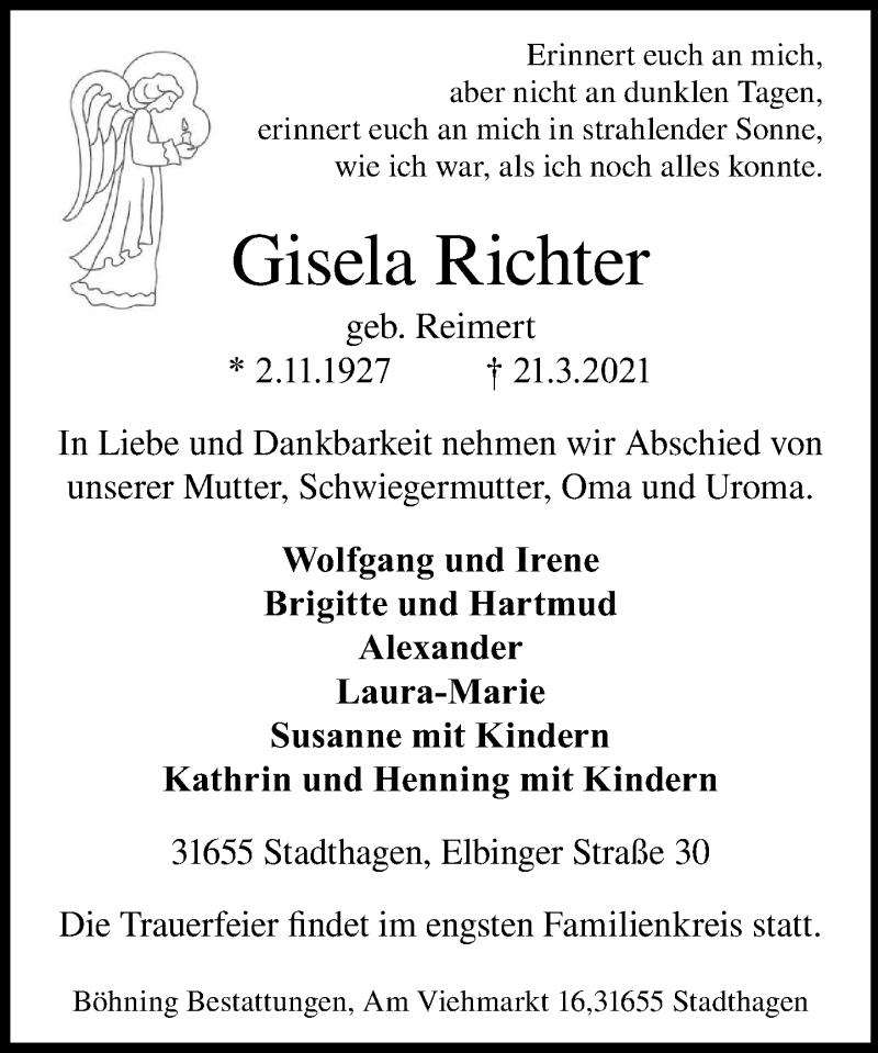 Traueranzeige für Gisela Richter vom 27.03.2021 aus Schaumburger Nachrichten