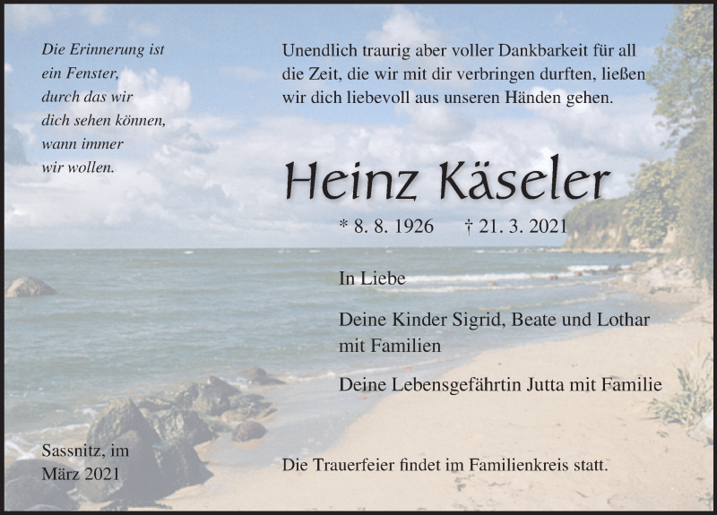 Traueranzeige für Heinz Käseler vom 27.03.2021 aus Ostsee-Zeitung GmbH
