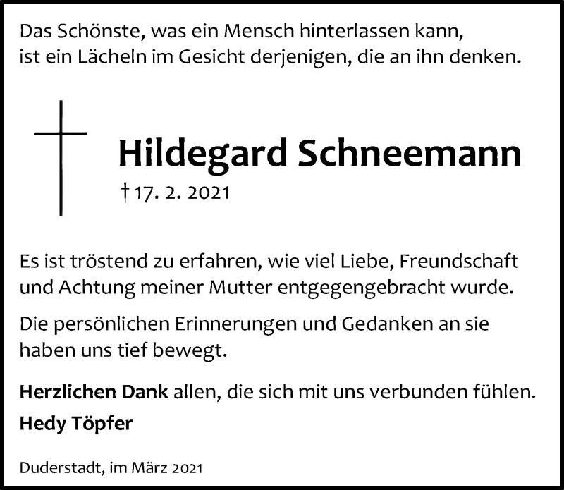 Traueranzeige für Hildegard Schneemann vom 06.03.2021 aus Eichsfelder Tageblatt