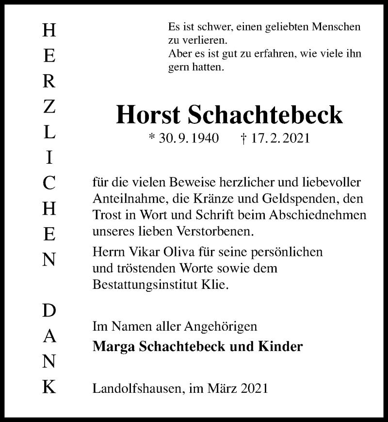 Traueranzeige für Horst Schachtebeck vom 06.03.2021 aus Göttinger Tageblatt